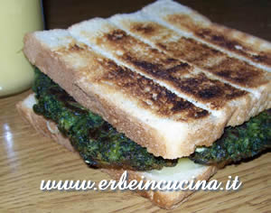 Eggless omelette sandwich with basil