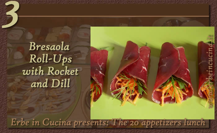Bresaola roll-ups with rocket and dill