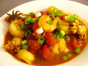 Baby Squid & Shrimp in Spicy Tomato Sauce