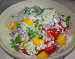 Rustic rice salad with chilies