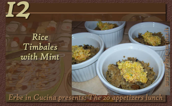 Rice timbales with mint