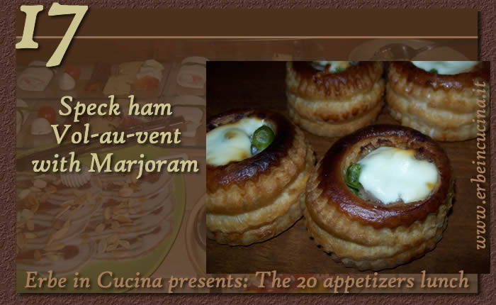 Speck ham vol-au-vent with marjoram