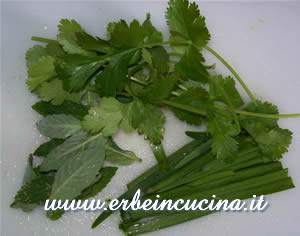 Coriander, mint and chives