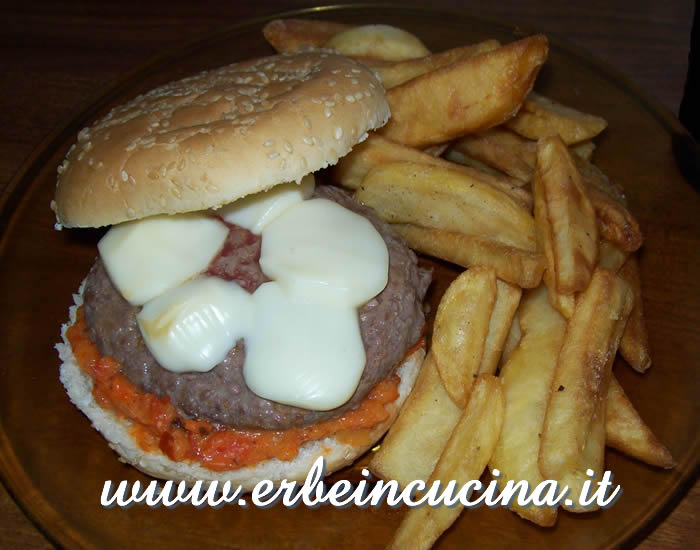 Burger with chili sauce