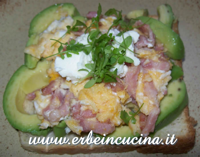 Egg & bacon with avocado and cress
