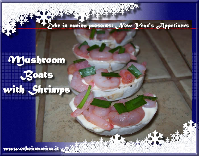 Mushroom boats with shrimps