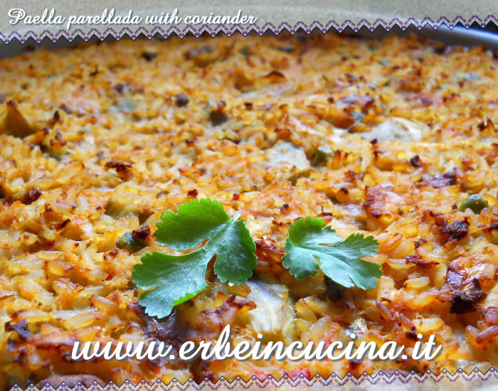 Paella parellada with coriander