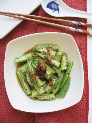 Steamed Okra with Fried Shallots