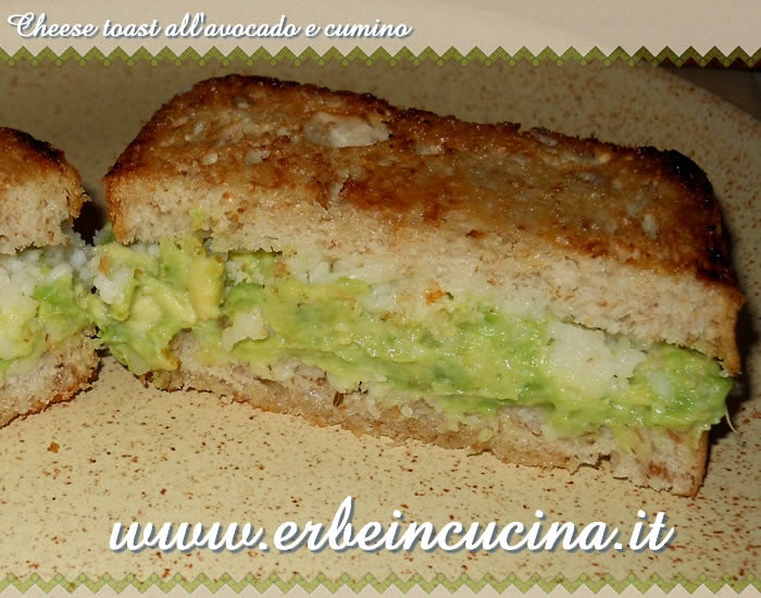 Cheese toast avocado e cumino
