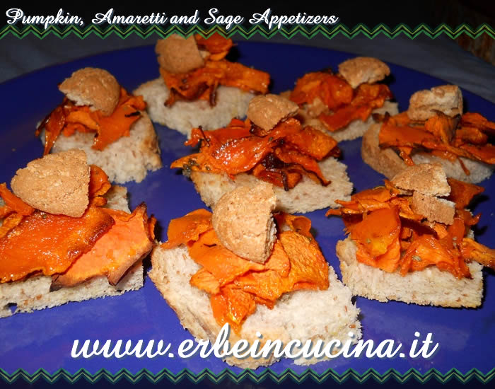 Pumpkin, amaretti and sage appetizers