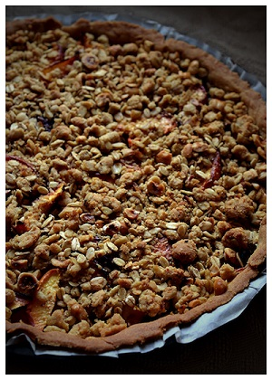 Peach and Hazelnut Crumble Tart