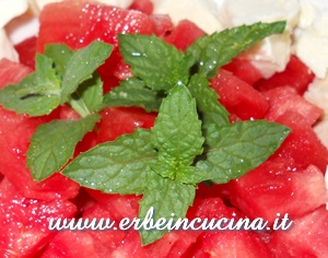 Watermelon salad with spearmint