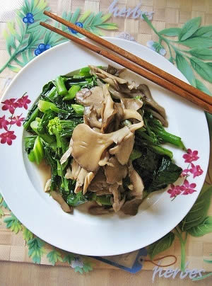 Maitake Mushrooms with Chinese Broccoli