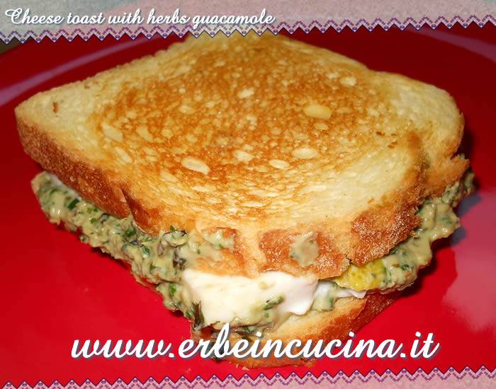 Cheese toast with herbs guacamole